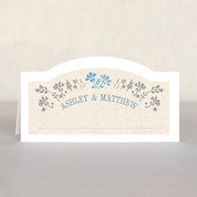 Rustic Blooms Place Card In Blue