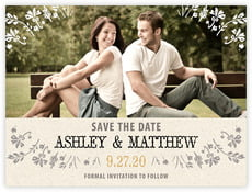 Rustic Blooms save the date cards