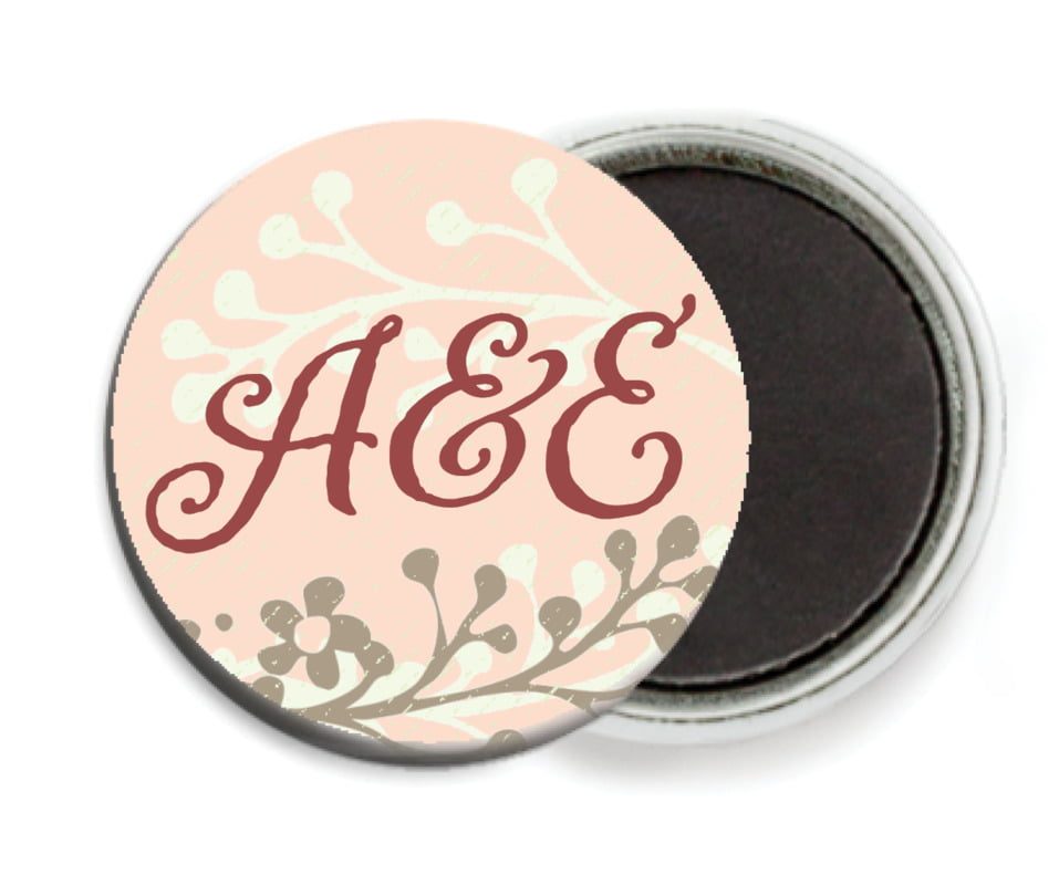 custom button magnets - peach - spring meadow (set of 6)