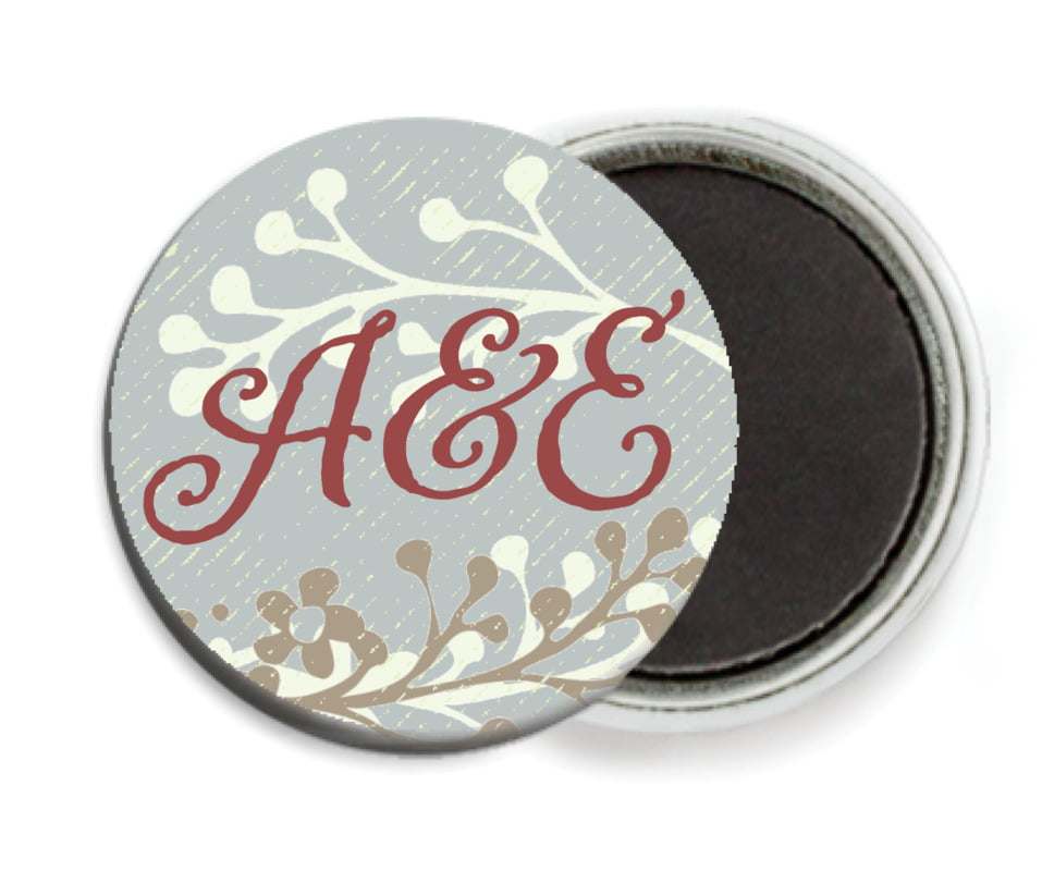 custom button magnets - charcoal - spring meadow (set of 6)