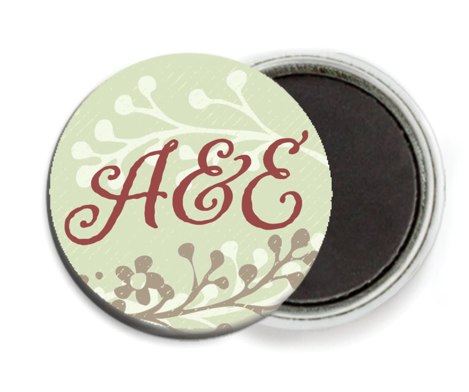 custom button magnets - green tea - spring meadow (set of 6)