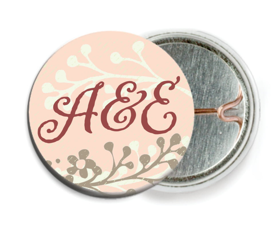 custom pin back buttons - peach - spring meadow (set of 6)