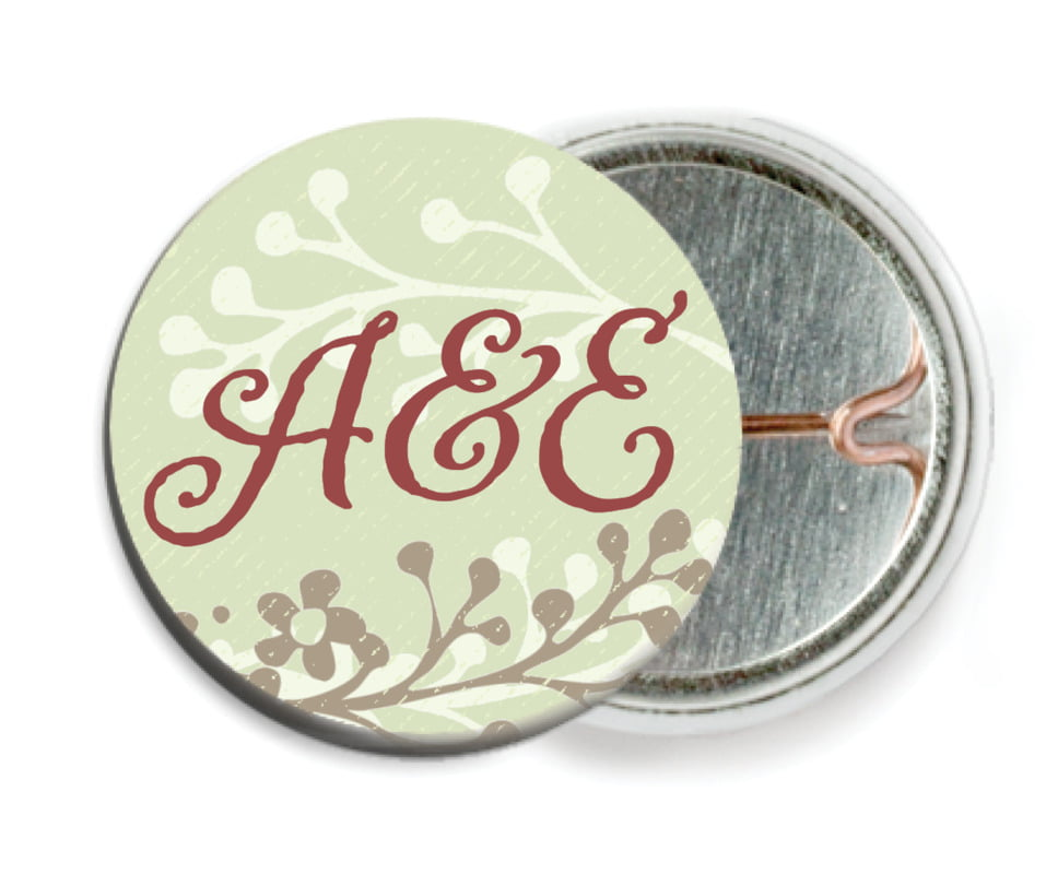 custom pin back buttons - green tea - spring meadow (set of 6)