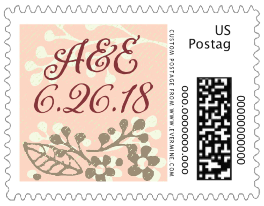 small custom postage stamps - peach - spring meadow (set of 20)