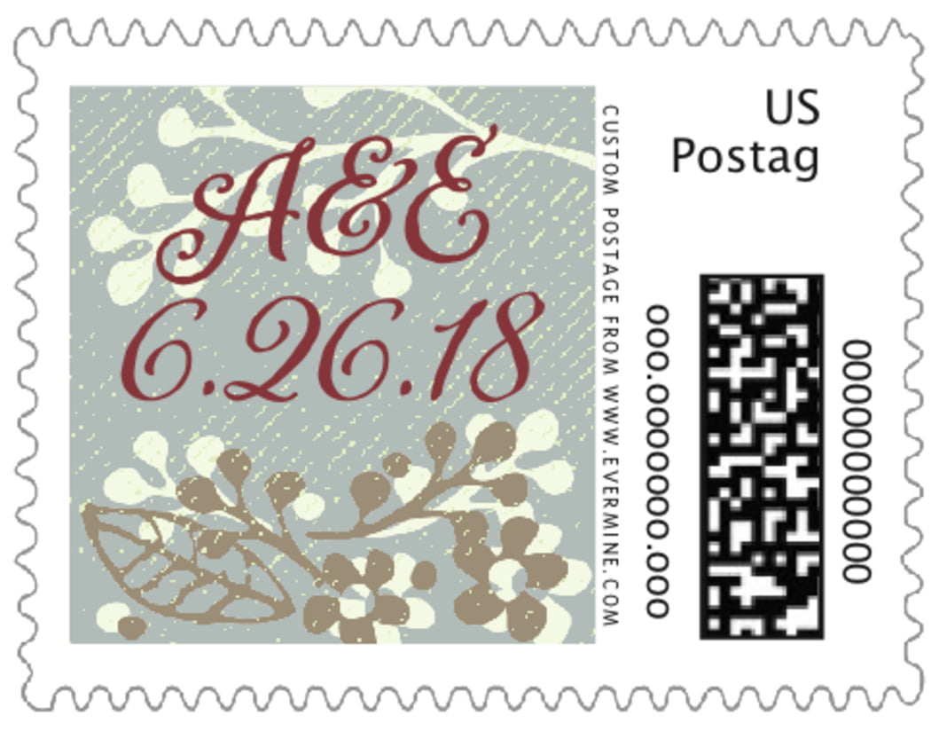 small custom postage stamps - charcoal - spring meadow (set of 20)