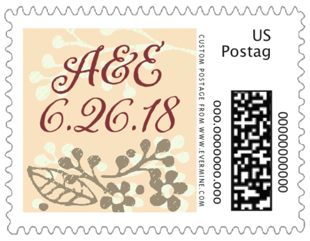 small custom postage stamps - gold - spring meadow (set of 20)
