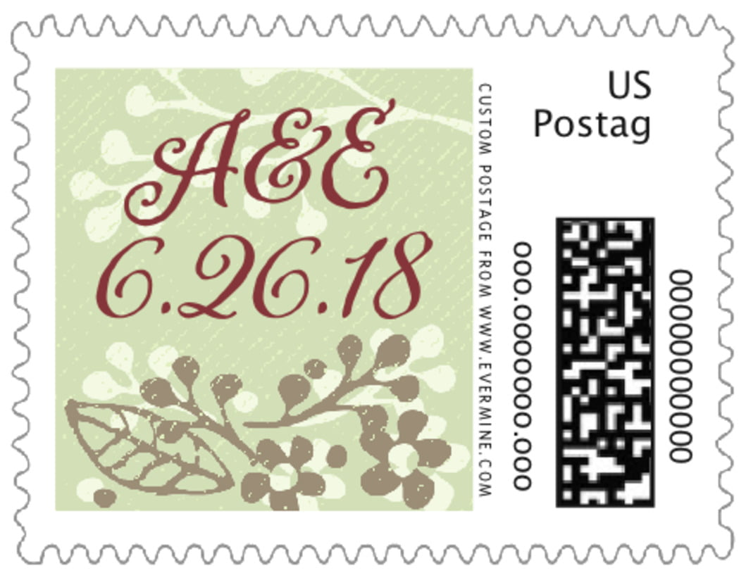 small custom postage stamps - green tea - spring meadow (set of 20)