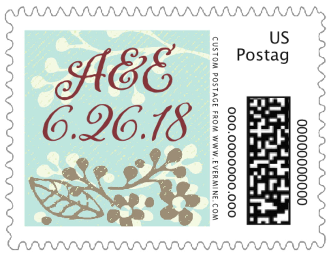 small custom postage stamps - sea glass - spring meadow (set of 20)