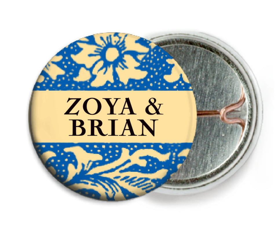 custom pin back buttons - royal blue & gold - rococo summer (set of 6)