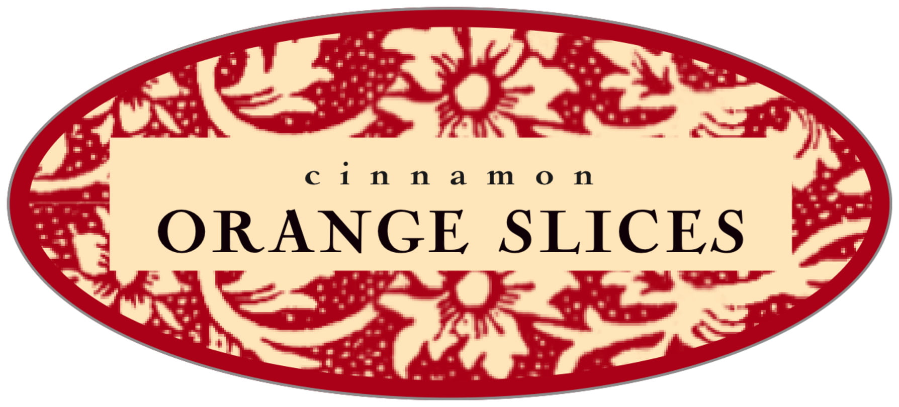 oval food/craft labels - red & gold - rococo summer (set of 30)