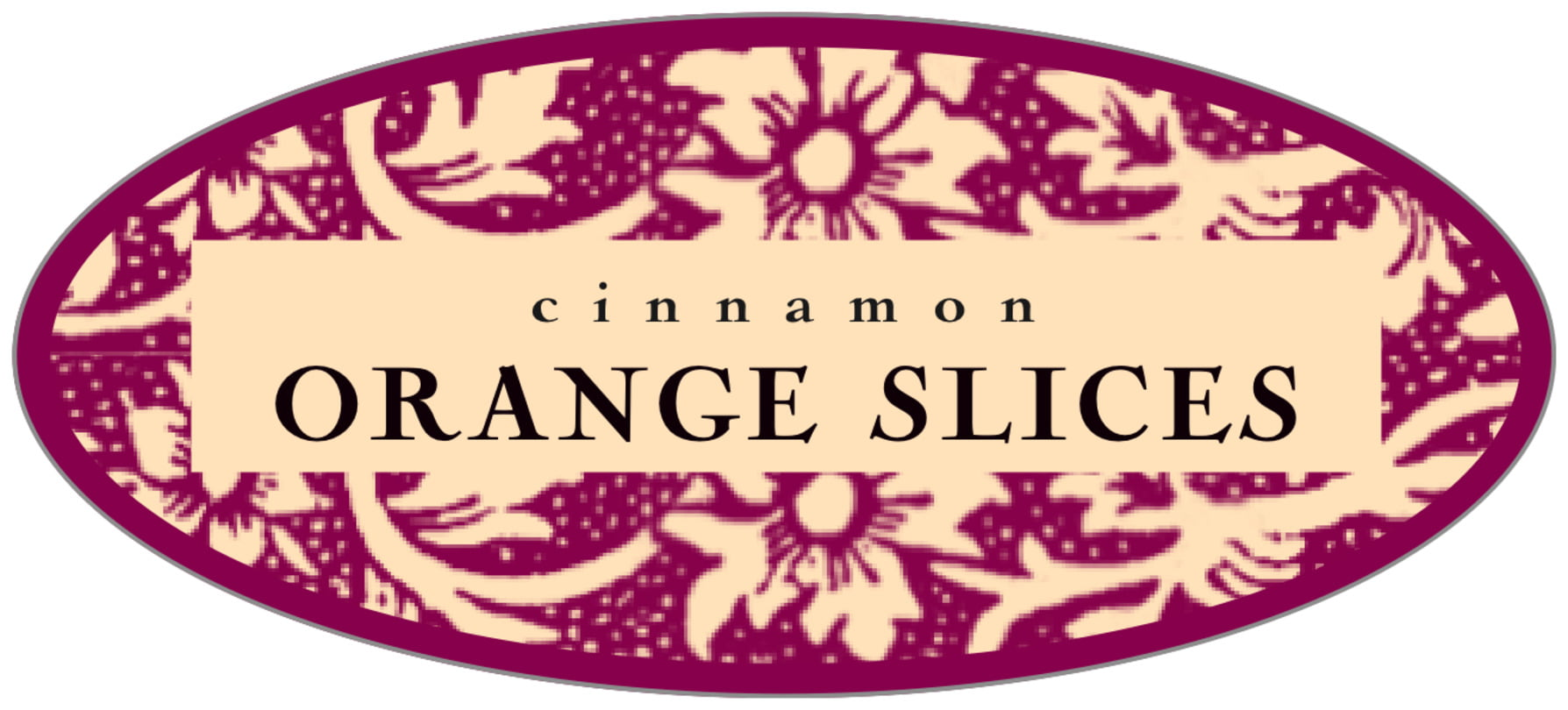 oval food/craft labels - burgundy - rococo summer (set of 30)