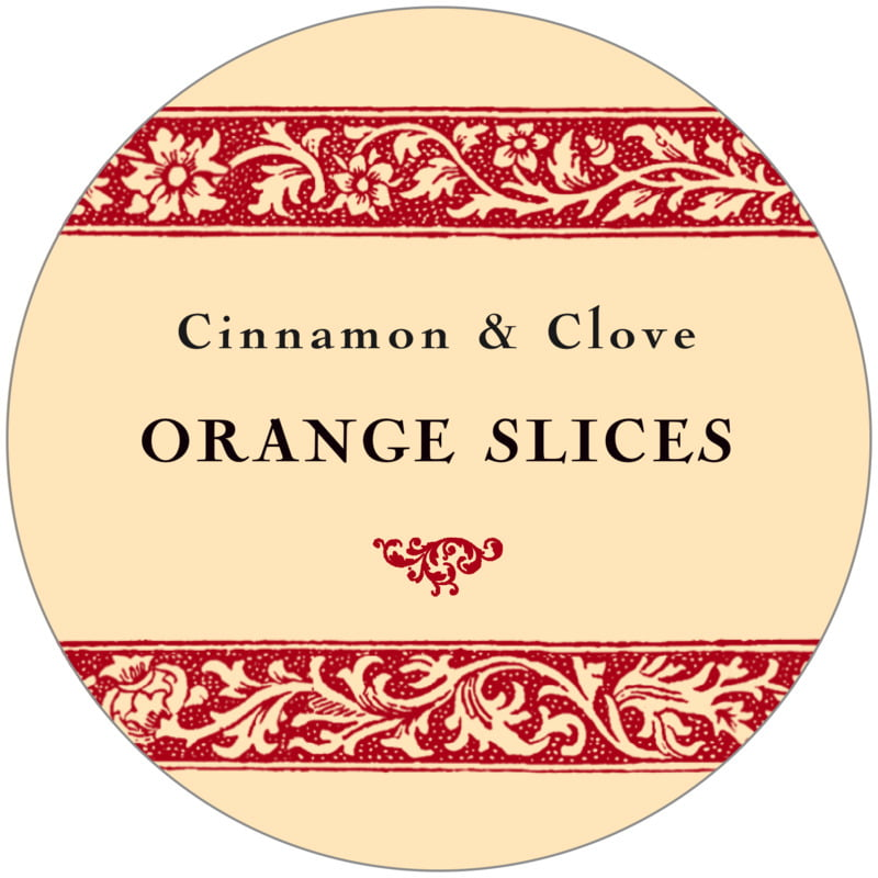 circle food/craft labels - red & gold - rococo summer (set of 12)