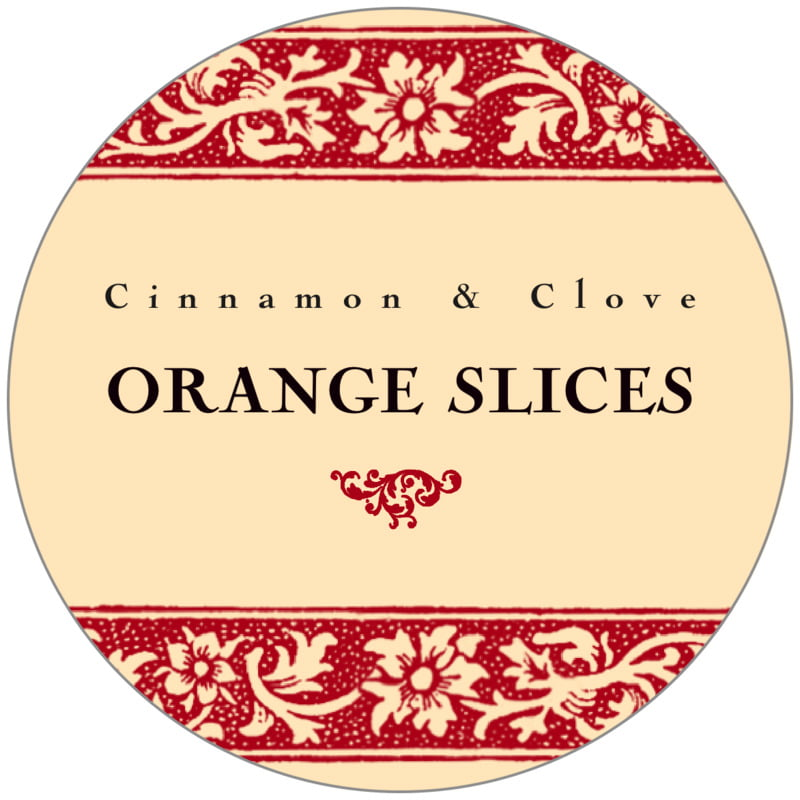 circle food/craft labels - red & gold - rococo summer (set of 20)