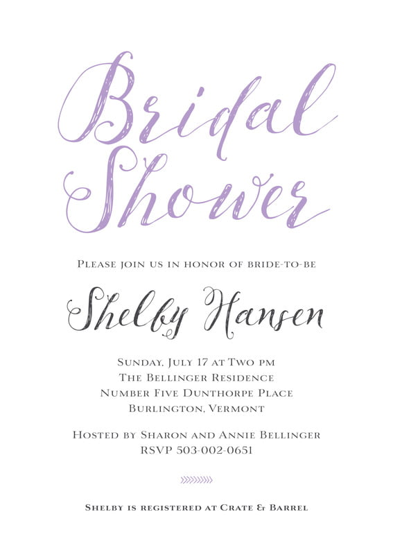 baby shower invitations - lilac - simple script (set of 10)