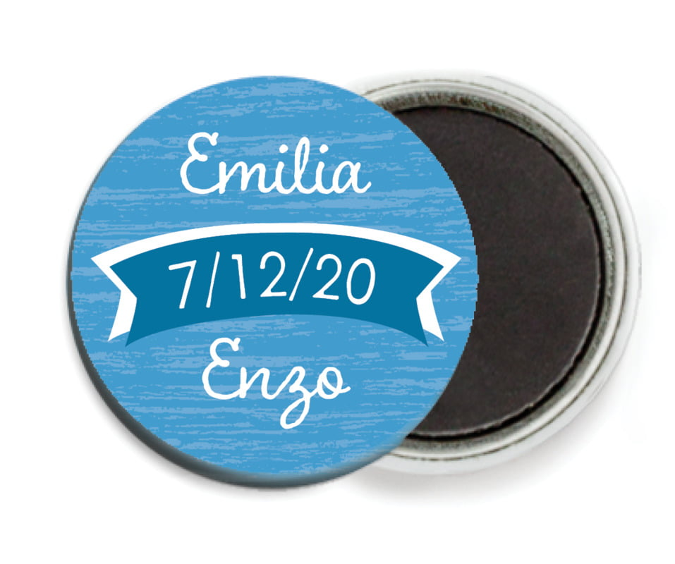 custom button magnets - blue - rustic retro (set of 6)