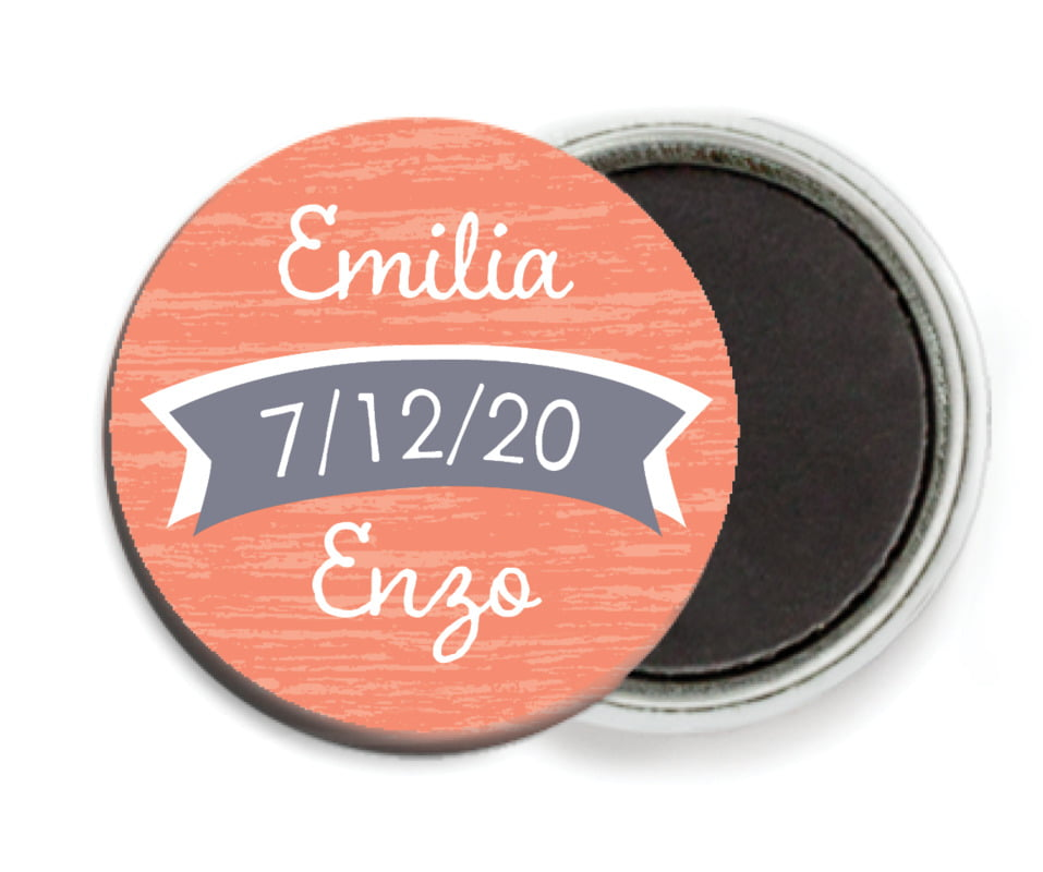 custom button magnets - coral - rustic retro (set of 6)