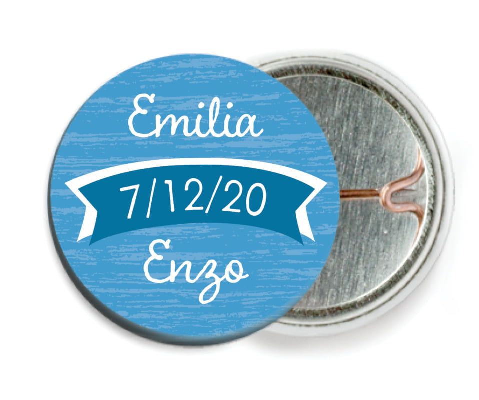 custom pin back buttons - blue - rustic retro (set of 6)