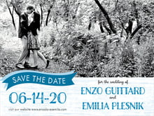 custom save-the-date cards - blue - rustic retro (set of 10)