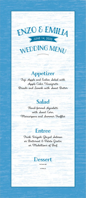 custom menus - blue - rustic retro (set of 10)