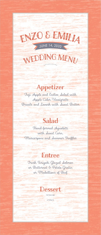 custom menus - coral - rustic retro (set of 10)