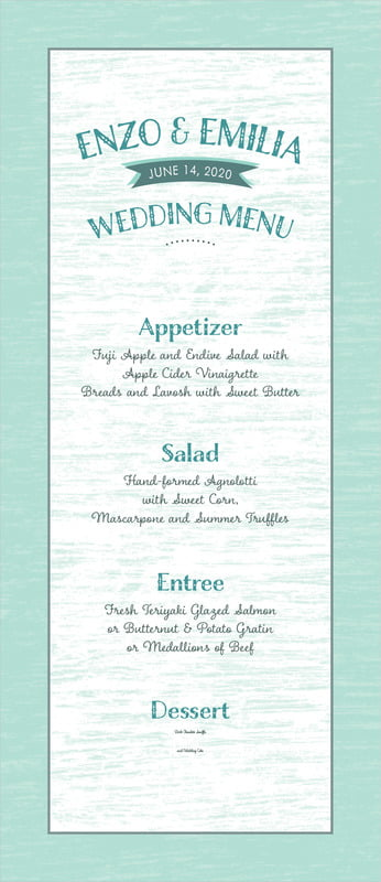 custom menus - sea glass - rustic retro (set of 10)