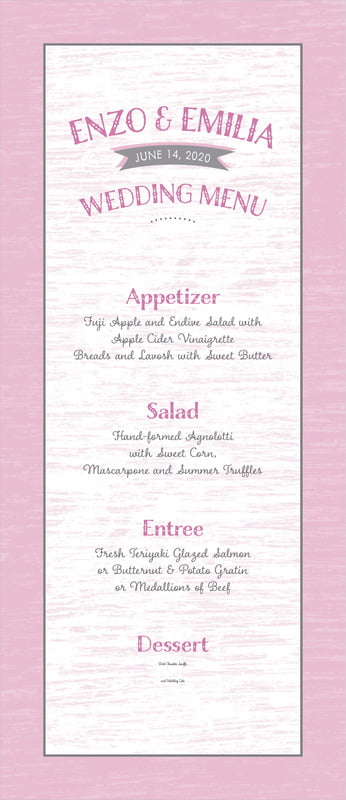 custom menus - peony - rustic retro (set of 10)