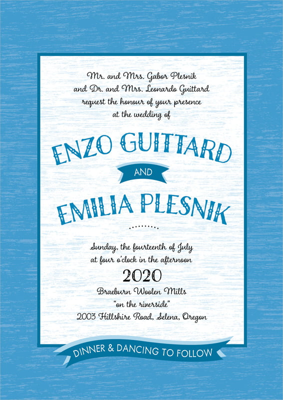custom invitations - blue - rustic retro (set of 10)