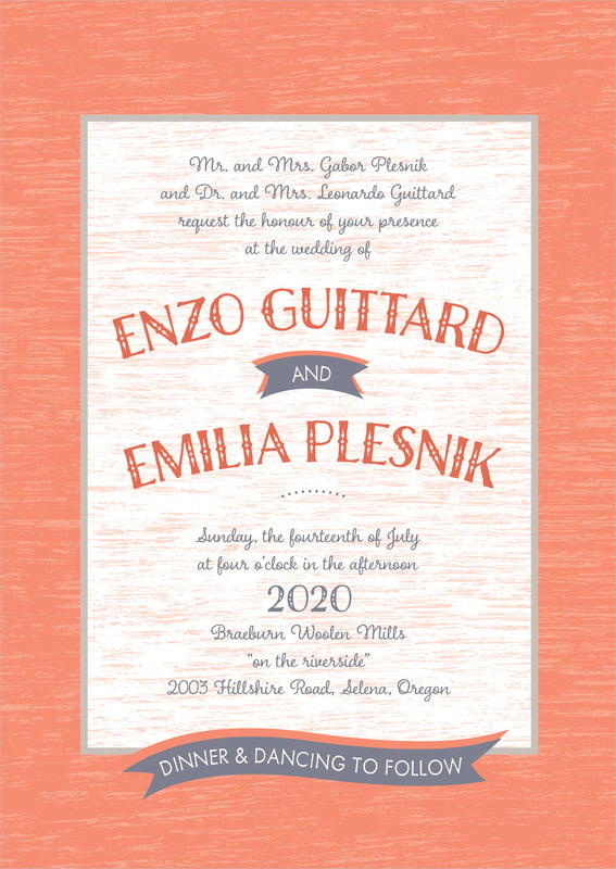 custom invitations - coral - rustic retro (set of 10)