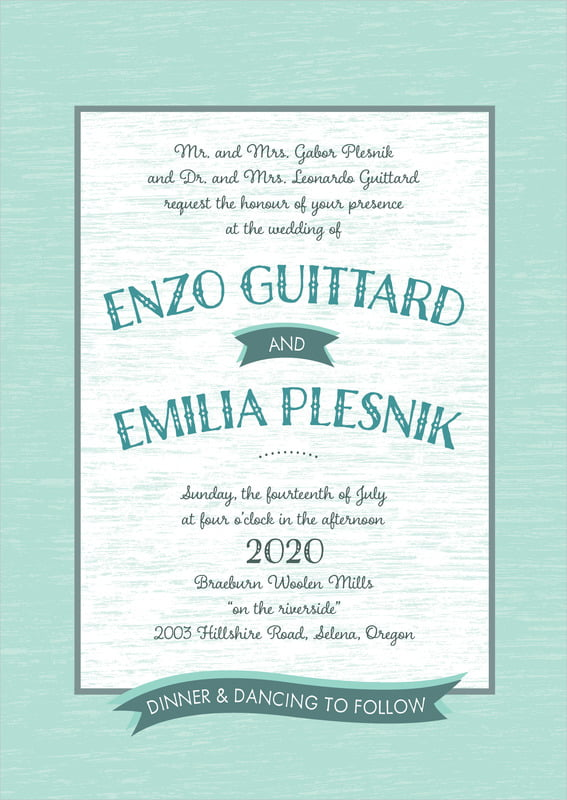 custom invitations - sea glass - rustic retro (set of 10)