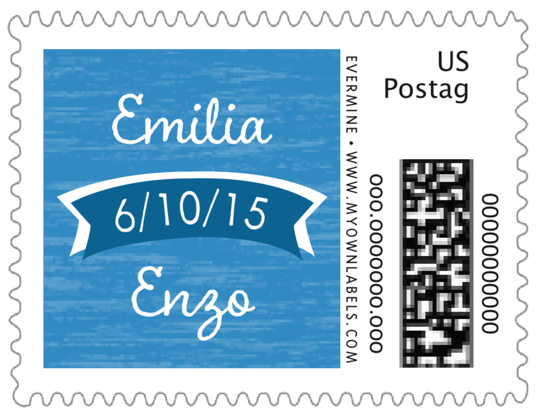 small custom postage stamps - blue - rustic retro (set of 20)