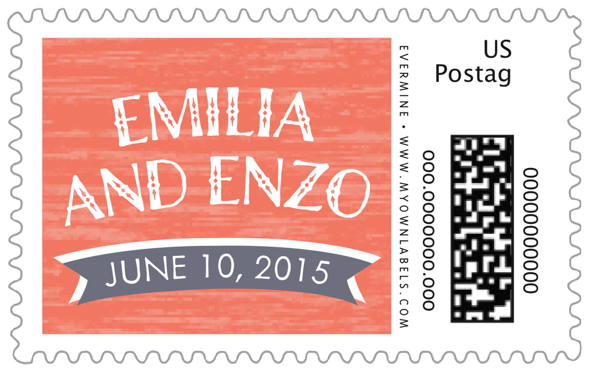 custom large postage stamps - coral - rustic retro (set of 20)