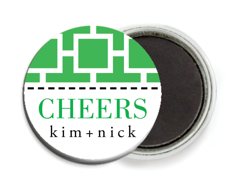 custom button magnets - kelly green - royal suite (set of 6)