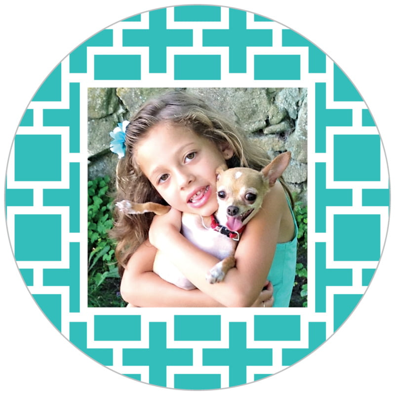 circle photo labels - turquoise - royal suite (set of 20)