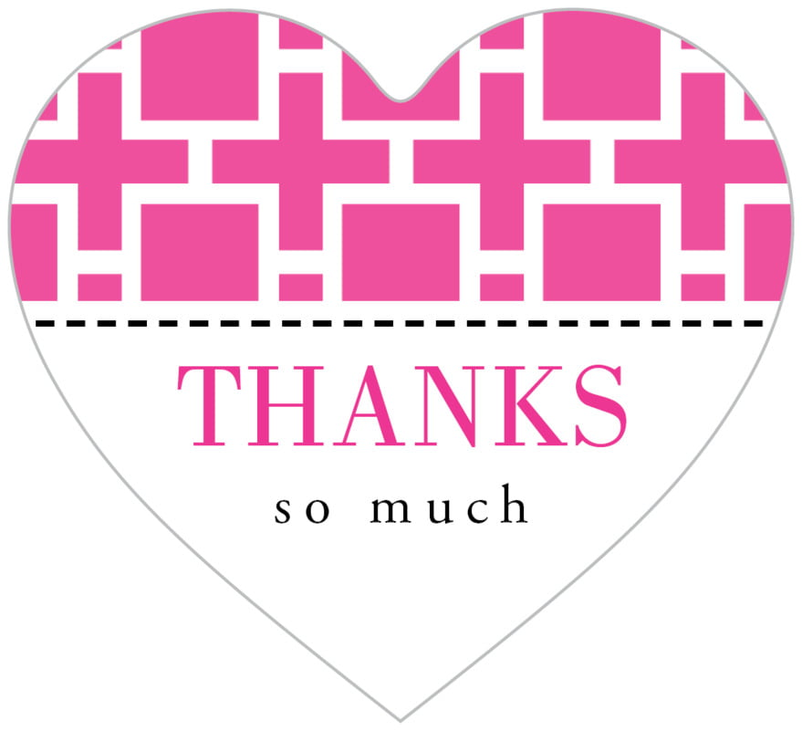 small heart food/craft labels - bright pink - royal suite (set of 20)