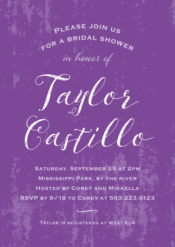 baby shower invitations - purple - rustic paint (set of 10)