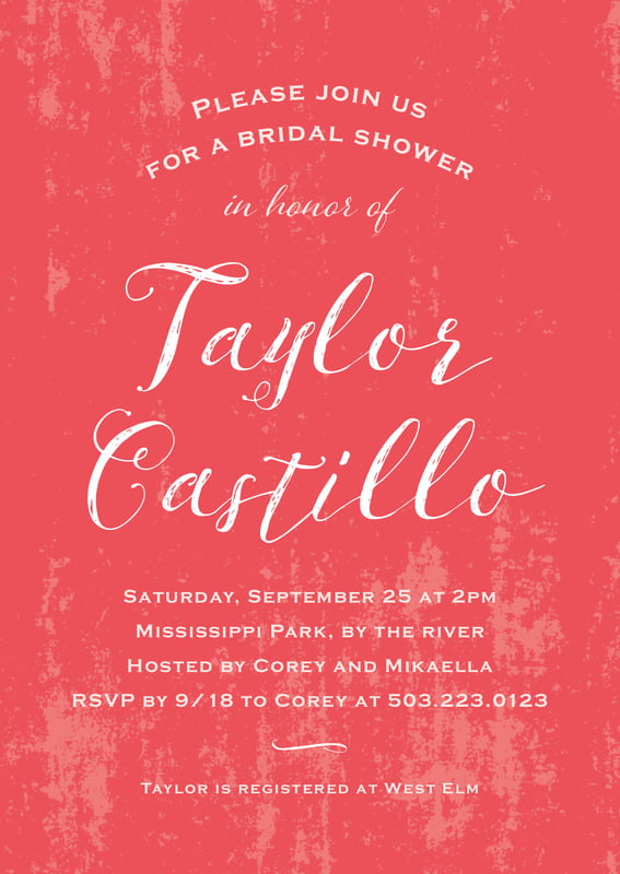 baby shower invitations - deep coral - rustic paint (set of 10)
