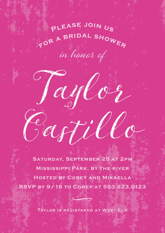 baby shower invitations - bright pink - rustic paint (set of 10)