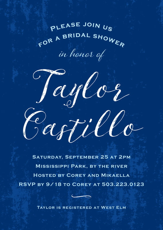baby shower invitations - deep blue - rustic paint (set of 10)
