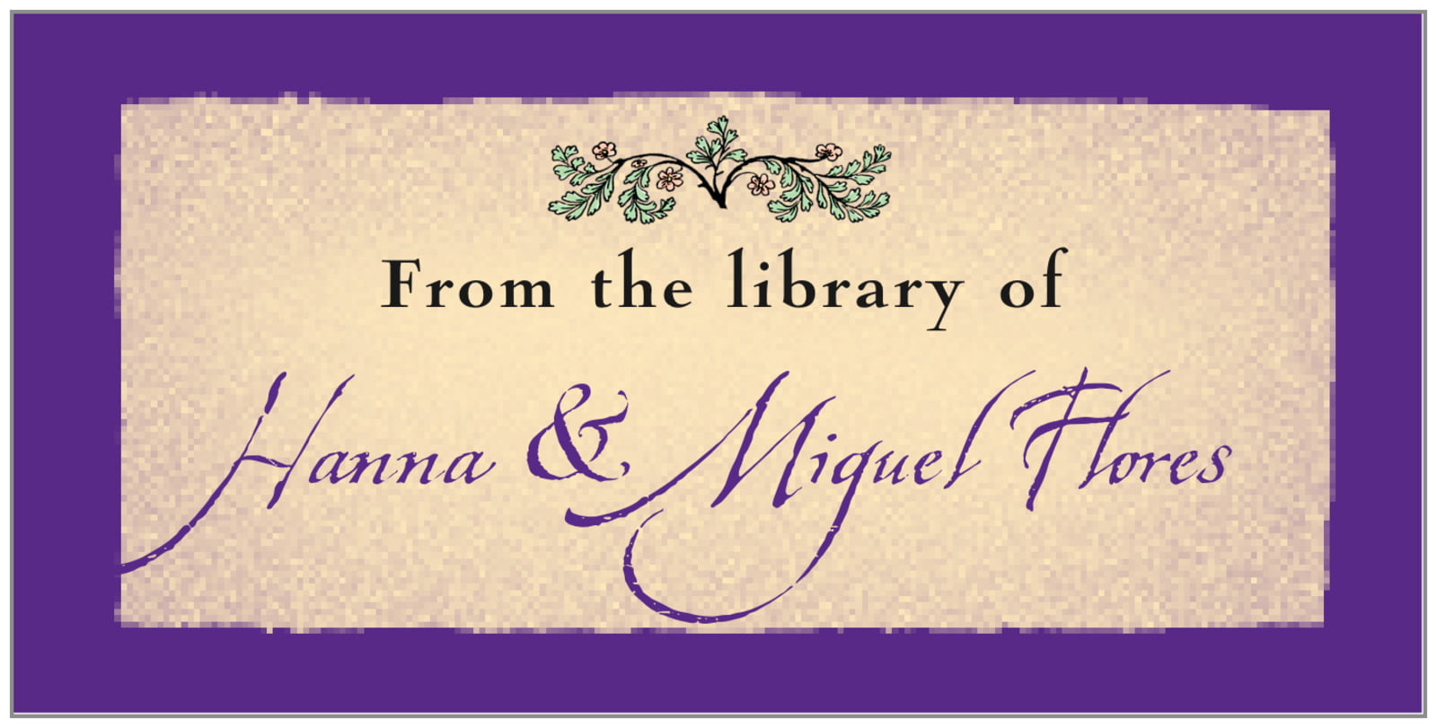 bookplates for everyone - purple - rustic floral (set of 24)