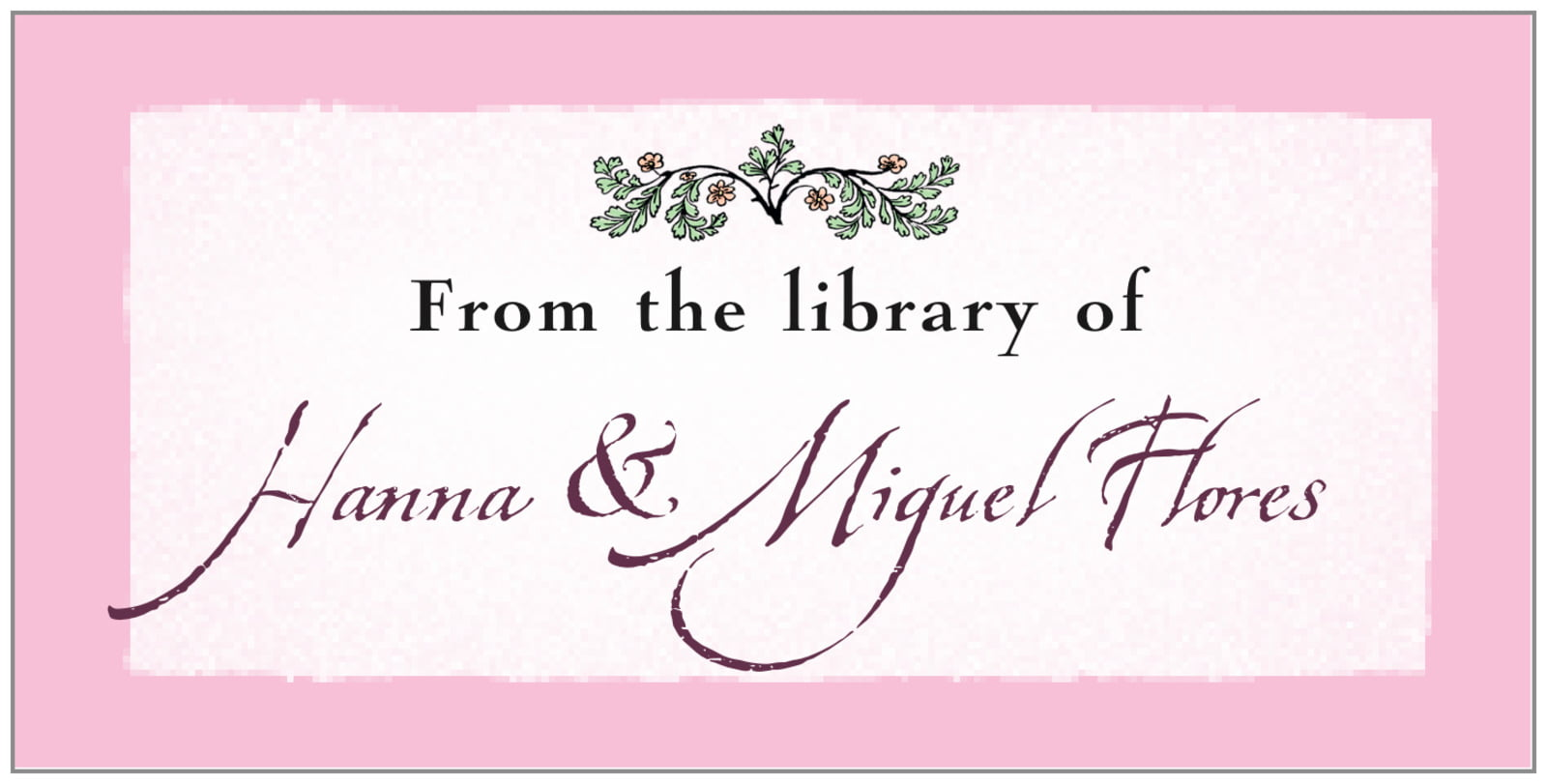 bookplates for everyone - pale pink - rustic floral (set of 24)