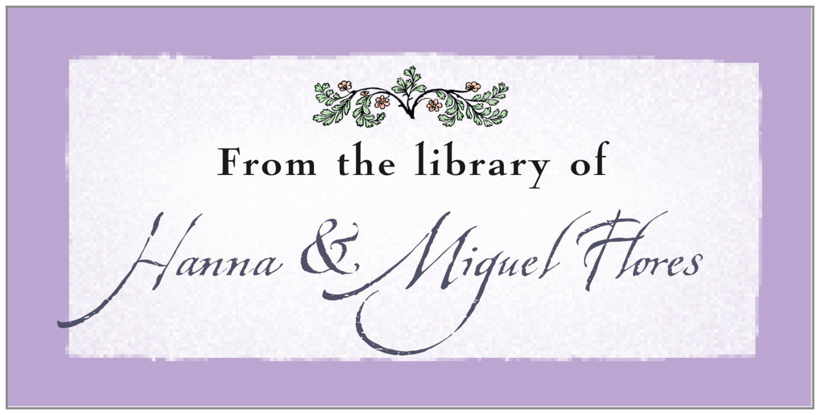 bookplates for everyone - lilac - rustic floral (set of 24)