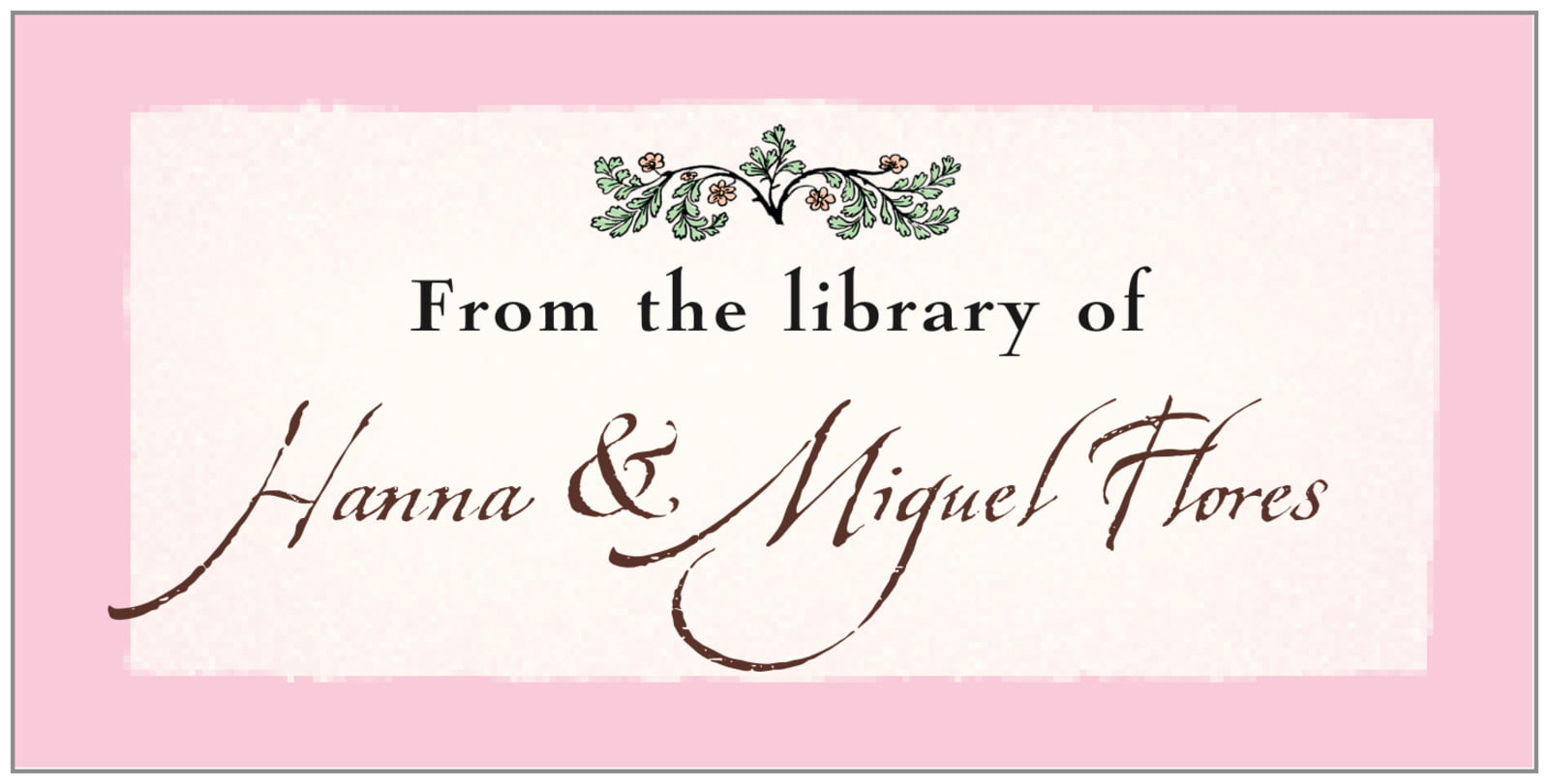 bookplates for everyone - cocoa & pink - rustic floral (set of 24)