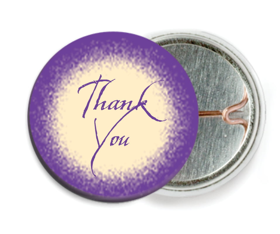 custom pin back buttons - purple - rustic home (set of 6)