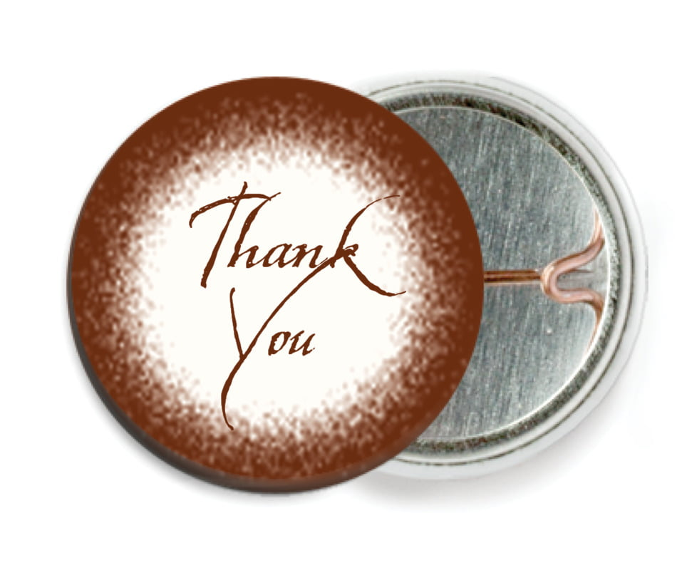 custom pin back buttons - chocolate - rustic home (set of 6)
