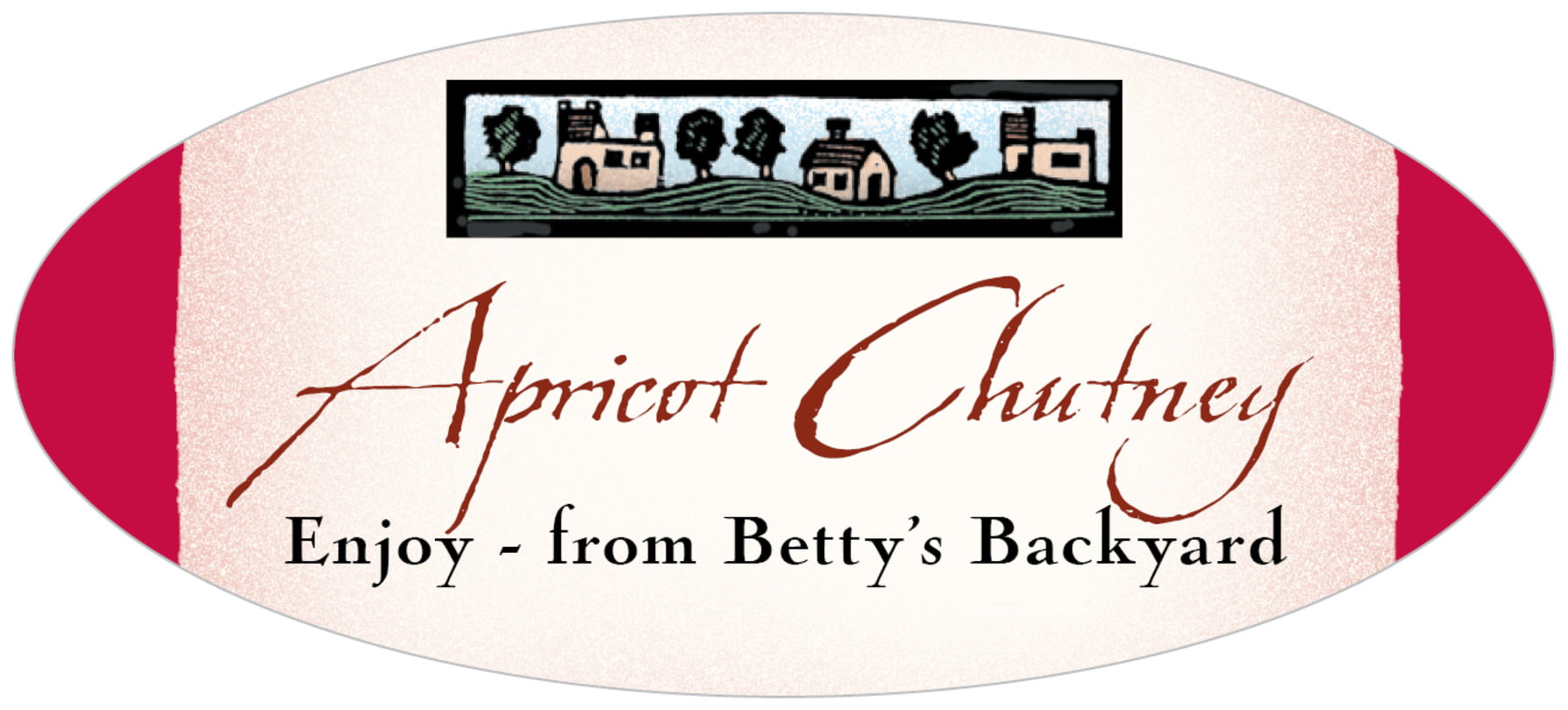 oval food/craft labels - deep red - rustic home (set of 30)