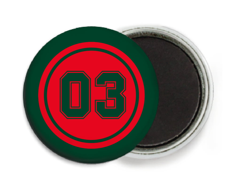 custom button magnets - red & forest - baseball (set of 6)