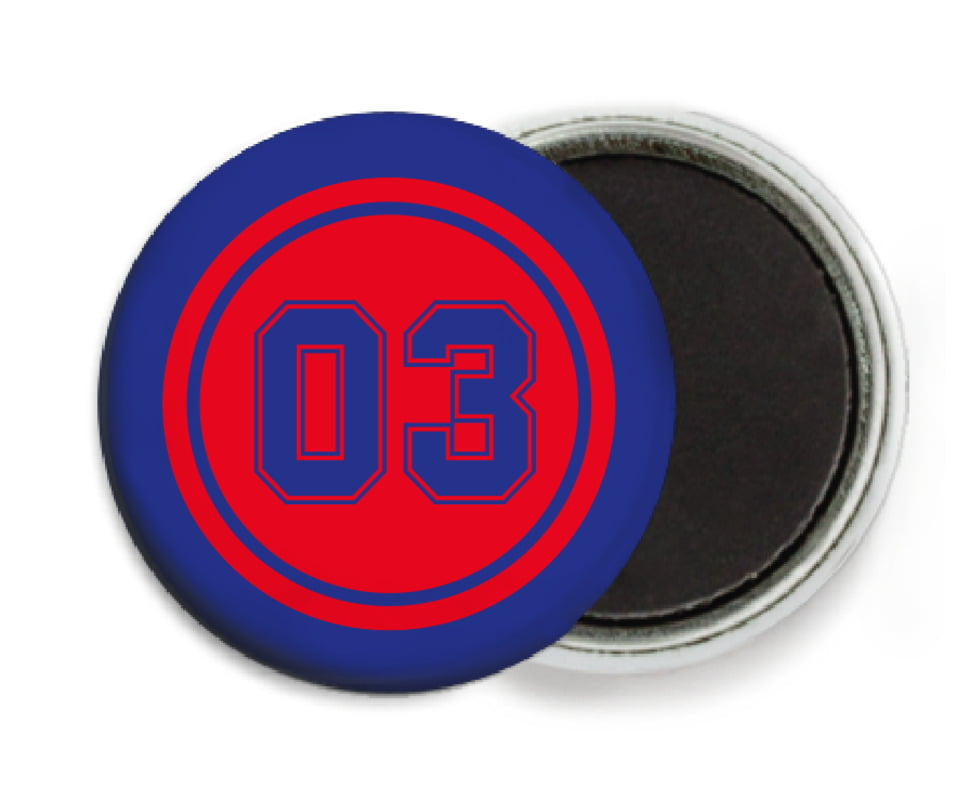 custom button magnets - red & royal - baseball (set of 6)