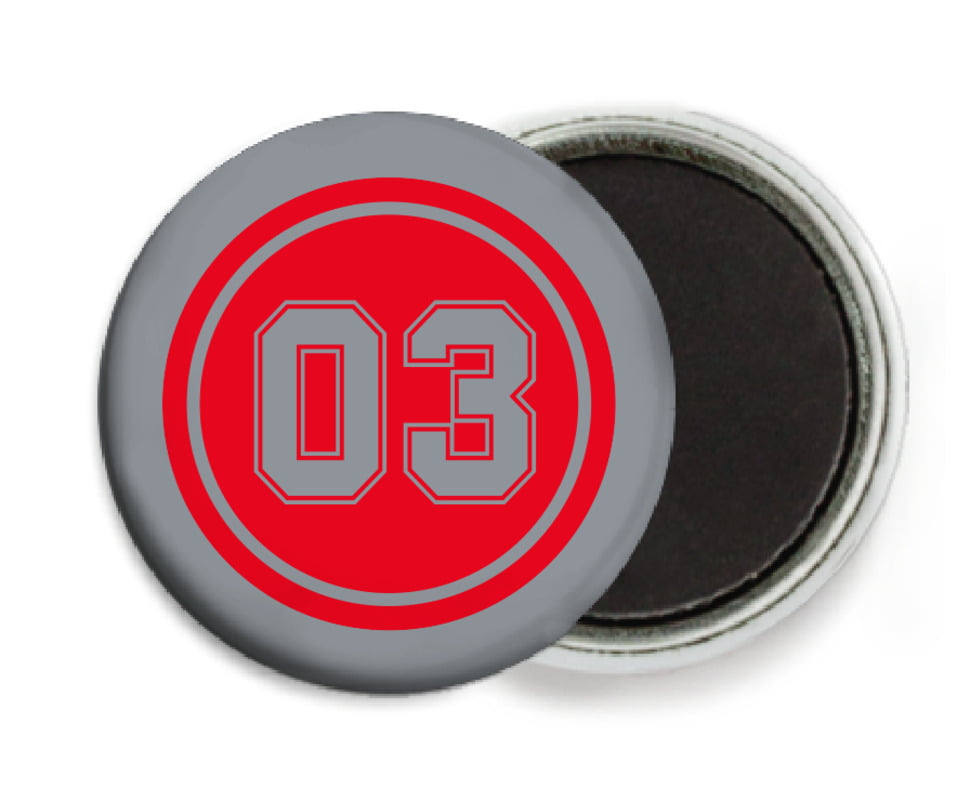 custom button magnets - red & silver - baseball (set of 6)