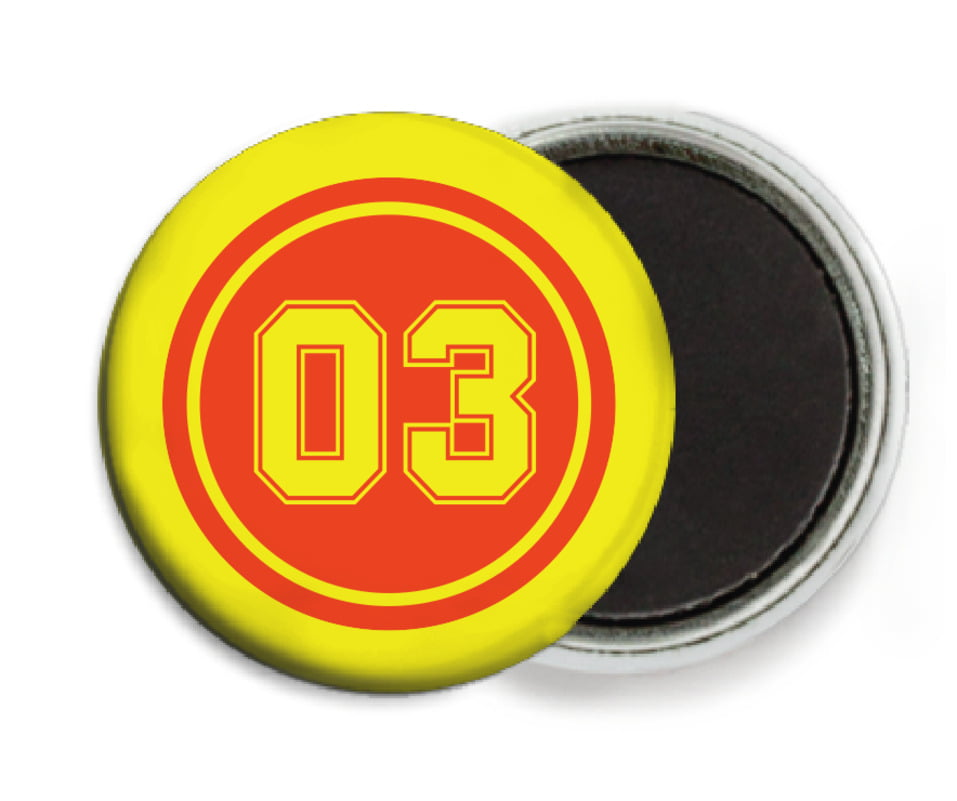 custom button magnets - orange & yellow - baseball (set of 6)