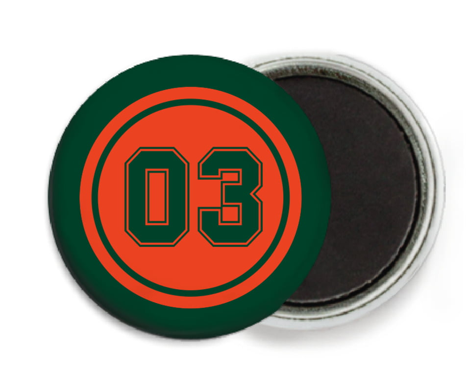 custom button magnets - orange & forest - baseball (set of 6)